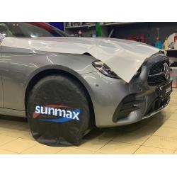Оклейка полиуретановой пленкой Sunmaxfilms серебристого Mercedes