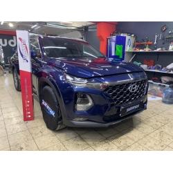 Оклейка полиуретановой пленкой Sunmaxfilms синего авто Hyundai
